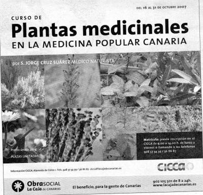 ABIERTA MATRICULA DEL CURSO DE PLANTAS MEDICINALES